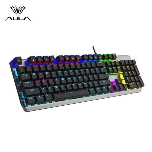 AULA F2066-Ⅱ Mechanical Gaming Keyboard USB Wired RGB Backlight Floating Keycap Keyboard Professional Gaming Office Keyboard -- Black Singapore