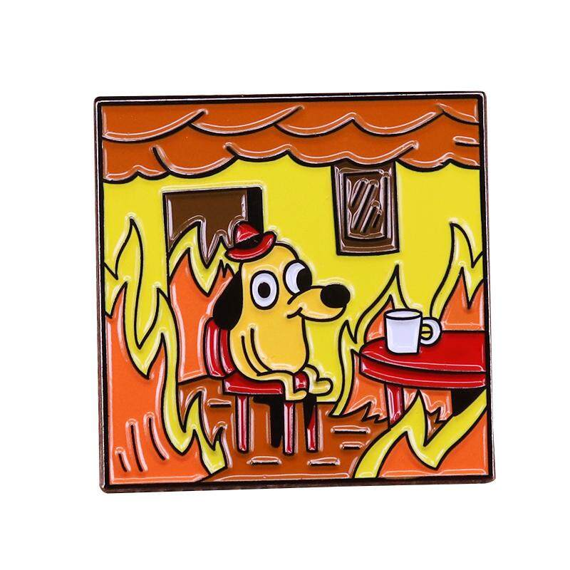 This Is Fine Dog Meme Enamel Pin Fire Drowning Anxiety Unique Humor Gift.