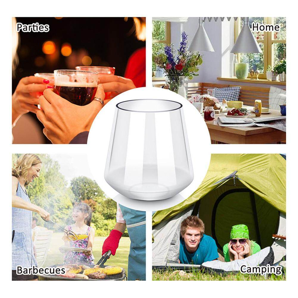 New Tritan Whiskey Cup Set No Foot Wine Glass Plastic Anti-fall Whiskey Glass Durable Wine Cup for Outdoor Camping Party Transparent Color