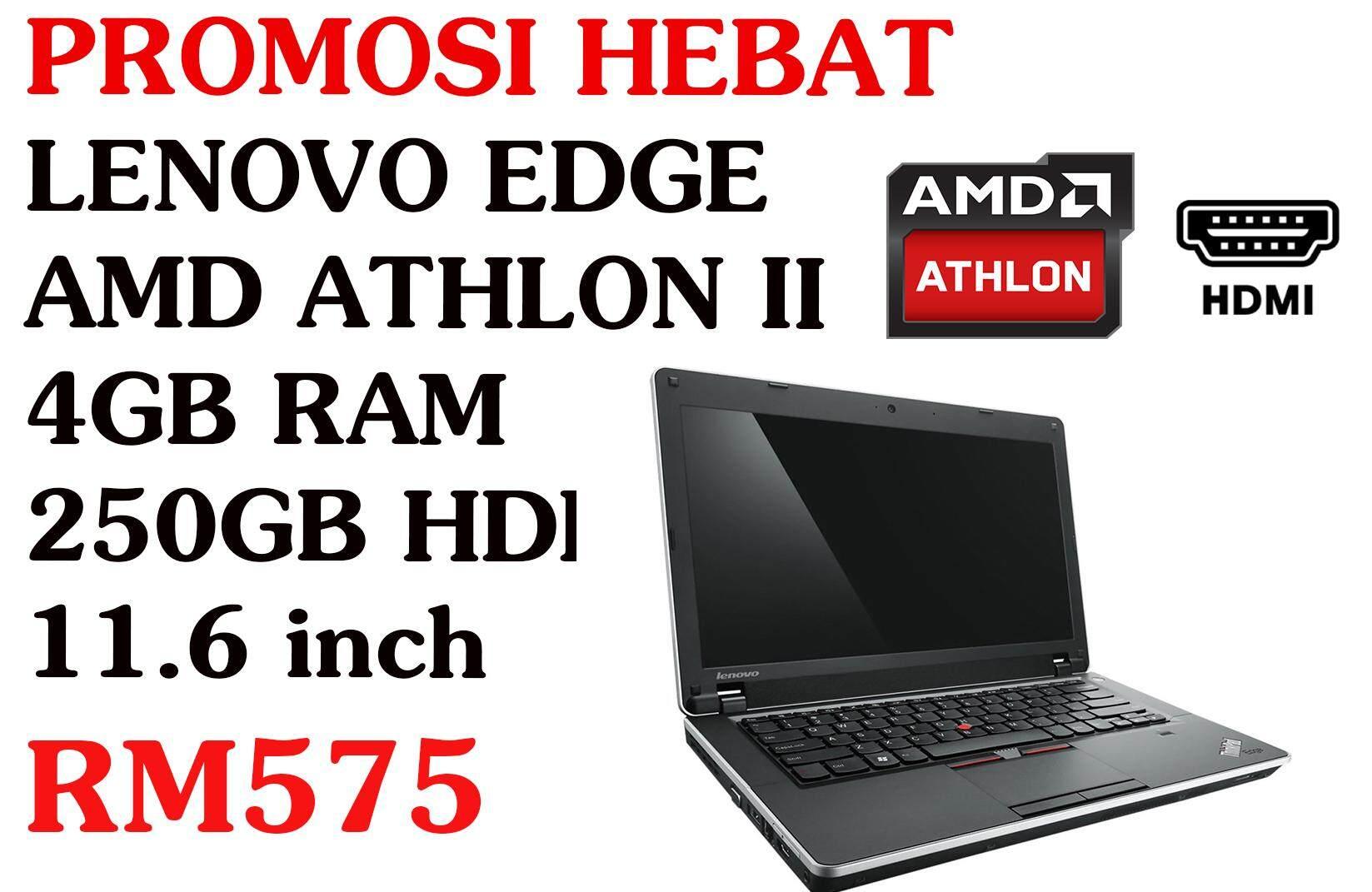 PROMOSI HEBAT LENOVO EDGE AMD ATHLON II 4GB RAM 250GB HDD 11.6 INCH Malaysia