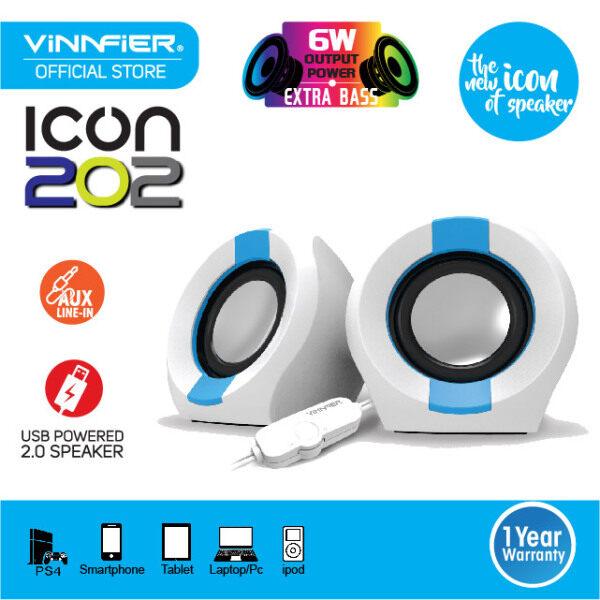 VINNFIER Icon 202 2.0 Portable USB Speaker (WHITE BLUE) Malaysia