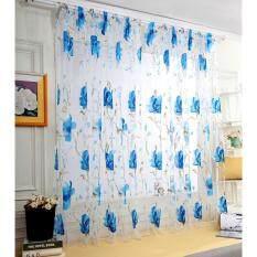 Rèm Cửa Sổ Vải Tuyn, Màn Che Cửa Sổ Họa Tiết Hoa Lớn Trang Trí Phòng Ngủ