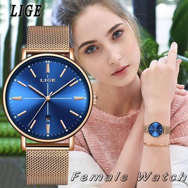 LIGE Simple Casual Women Watches  Fashion Ladies Waterproof Stainless Steel Analog Quartz Wrist Jam Tangan Wanita Malaysia