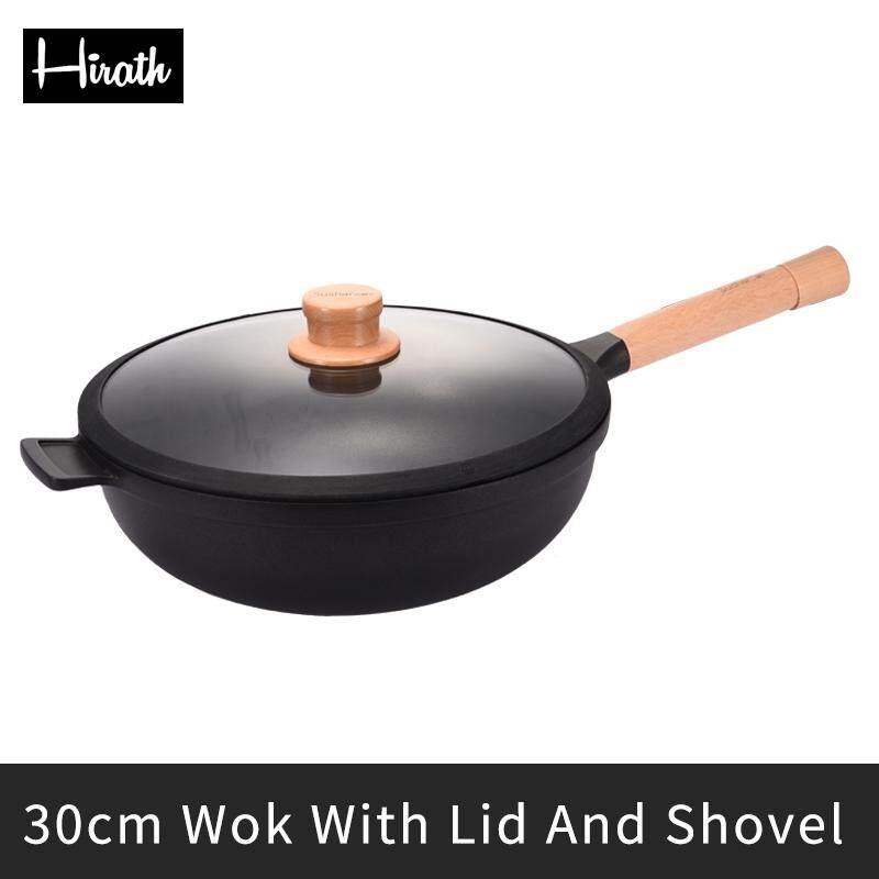 Hirath Blackwood 30 Cm Chảo Có Nắp Đậy Và Xẻng Thích Hợp Cho Tất Cả Các Bếp Đồ Nhà Bếp Đồ Dùng Nhà Bếp