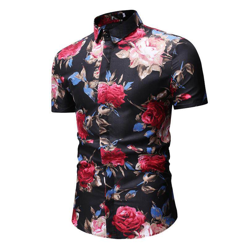 9292bb2973 RHS Online Summer Men Male Casual Short Sleeved Printed Slim Fit Flower T  Shirt Shirts