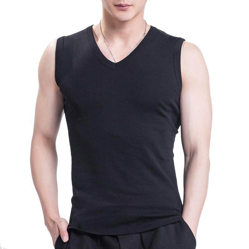 Mens Pure Cotton Casual  Tank Tops Sports Fitness Breathable Vest Tee Tops