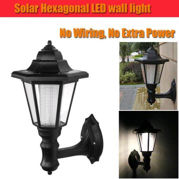 Waterproof Solar LED Wall Lamp Hexagonal Light Warm White Auto ON/OFF At Night for Outdoor Landscape Garden Fence Yard