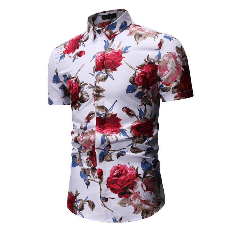 a074d505cf Floral Mens Shirts Short sleeve Flower Hawaiian Shirt Men Fashion Blouse  Man Black White