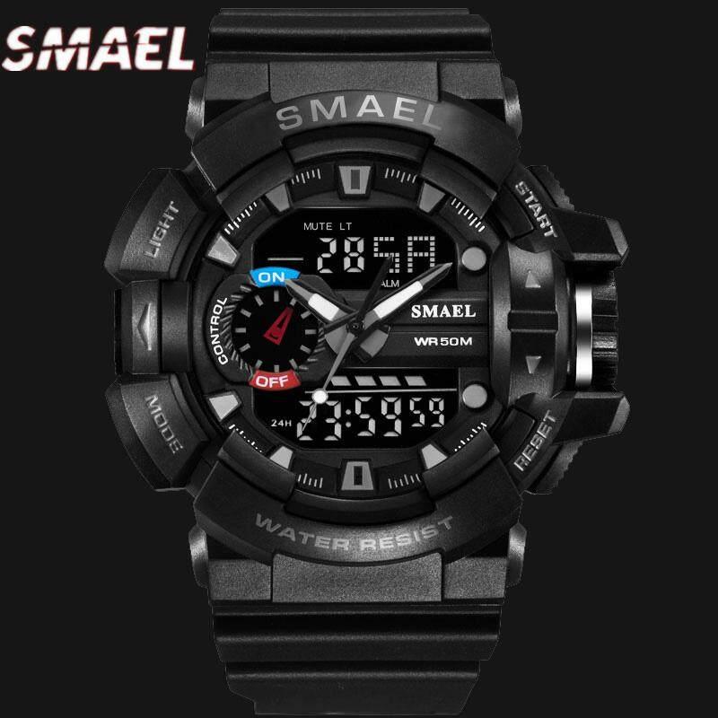 Smael Merek Jam Tangan Pria Olahraga Militer Jam Kuarsa Tahan Air Chronograph Otomatis Detik Digital Stopwatch LED Jam Alarm Alarm Multi Fungsi Jam Tangan Pria