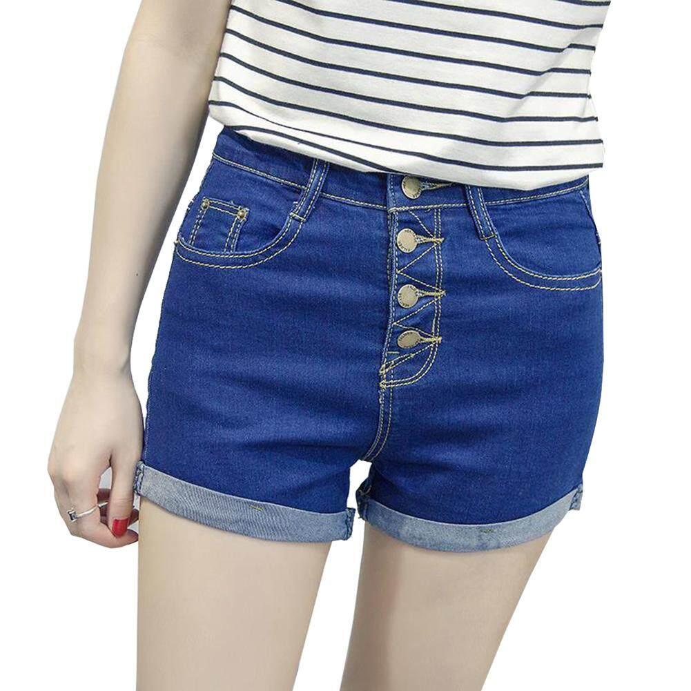 fda814eee3 [YP-HooWoo.MY]New Korean Women's Button High Waist Elastic Rolled Denim  Shorts with Pockets