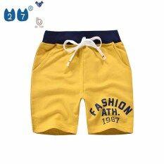 27Kids Store Quần Short Trẻ Em Cho Bé Trai 1-8 Tuổi Cô Gái Co Giãn Màu Xám Xanh Lá Cây Vàng Xanh Đậm Thời Trang 1987 Cotton