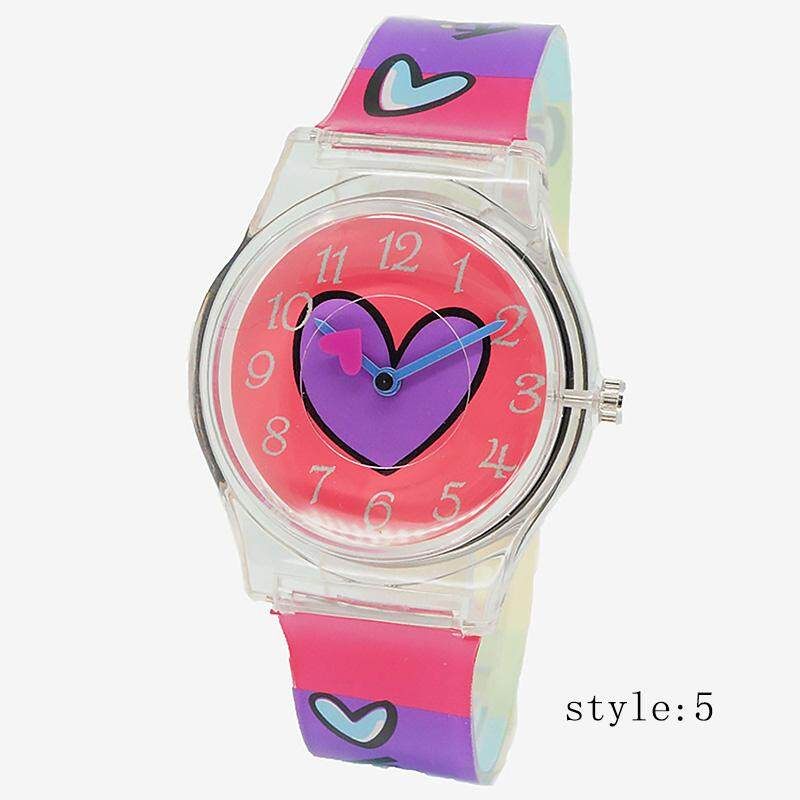 Luxury Quartz Wristwatch Lovely Pink Silicone Strap Watches For Students Girls Malaysia