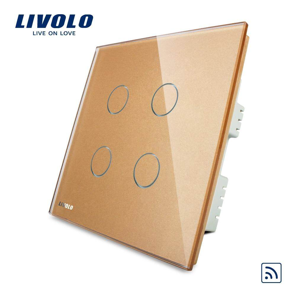 Livolo Uk Standard 4gang Wireless Remote Touch Switch , Ac 220-250v , Crystal Glass Panel, Vl-C304r-61,no Remote Controller By Nice Coo.