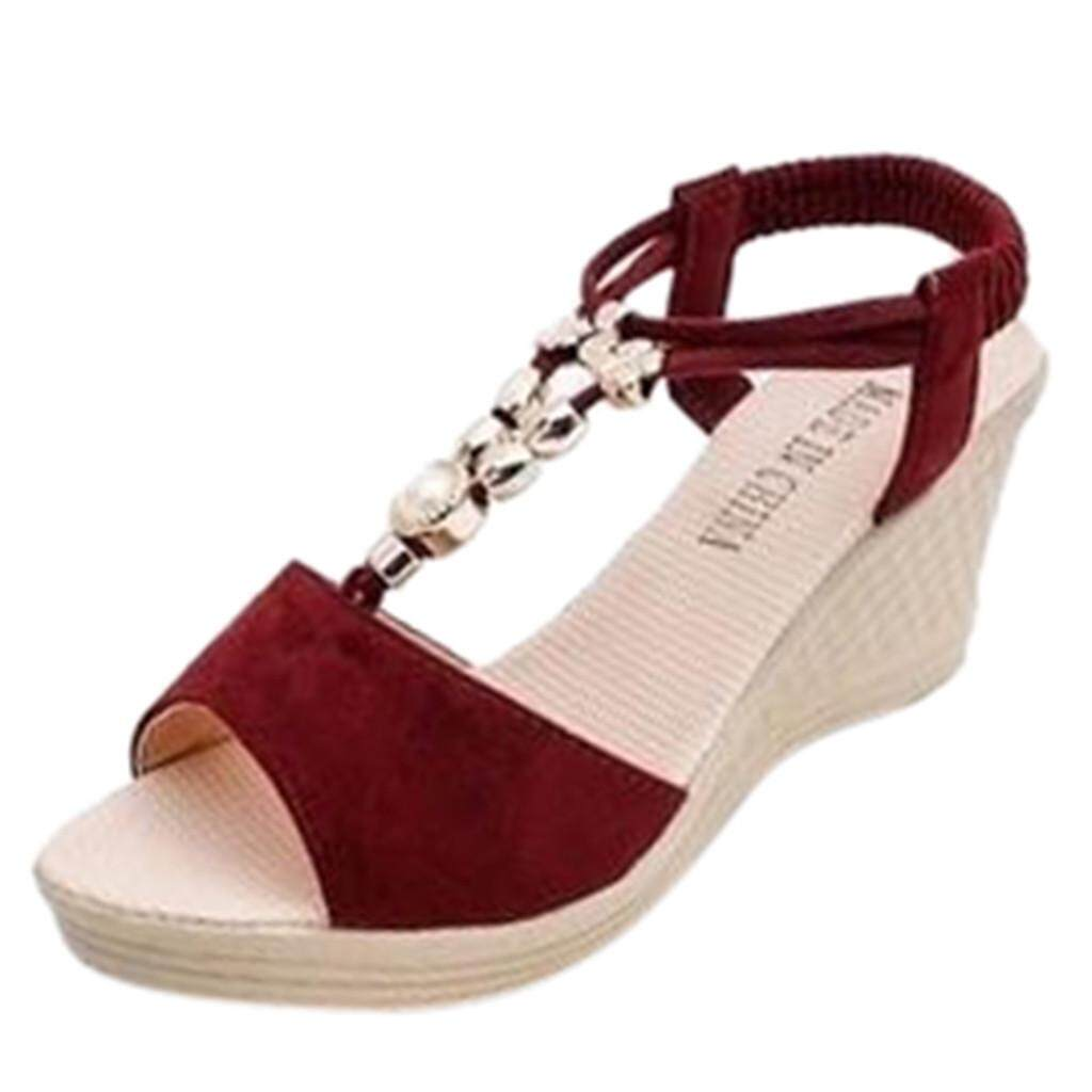 Auburyshop ผู้หญิงแฟชั่นส้นตึกลูกปัด Casual รองเท้าแตะโรมัน Shoes【reference Eu ขนาด Chart】 By Auburyshop.