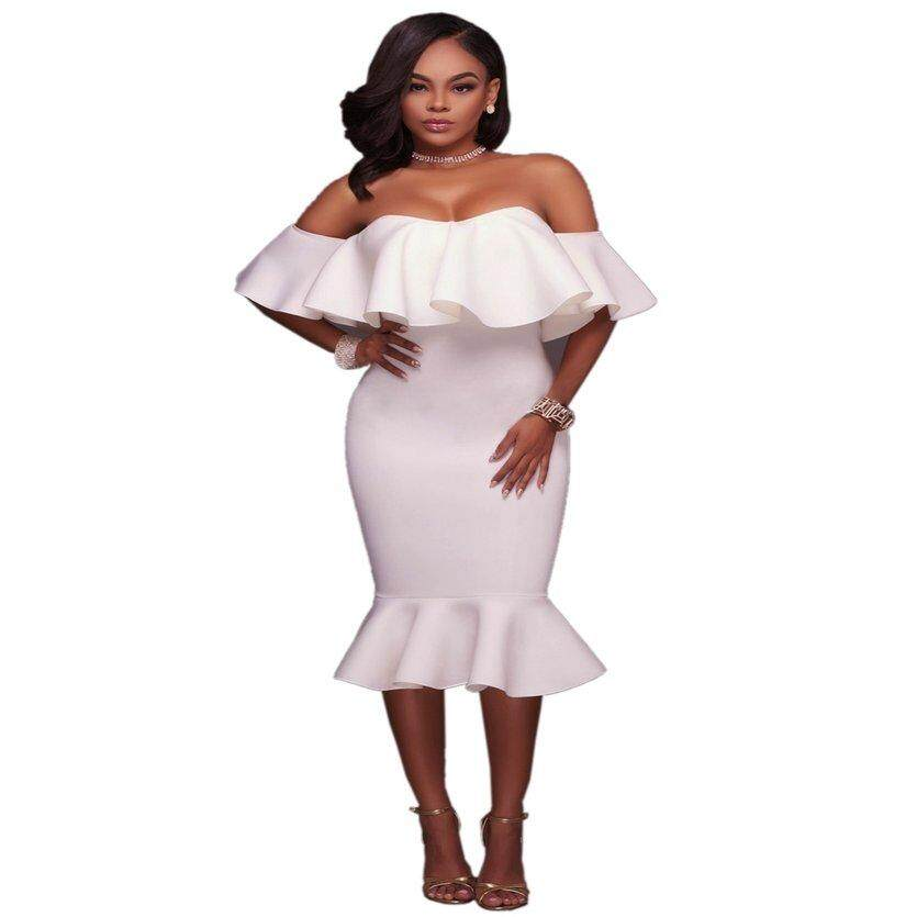 eb0b637556 YC Fashion Women Dress Boat Neck Off Shoulder Flounce Dress Solid Color Summer  Female Dress for