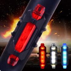 1 Cái 5 LED Xe Đạp Đuôi Xe Đạp USB Sạc Đỏ Cảnh Báo Đèn Xe Đạp An Toàn Phía Sau