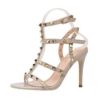 Womens Rivet T-Strap Sandals Open Toe Stiletto Strappy Buckle High Heels thumbnail