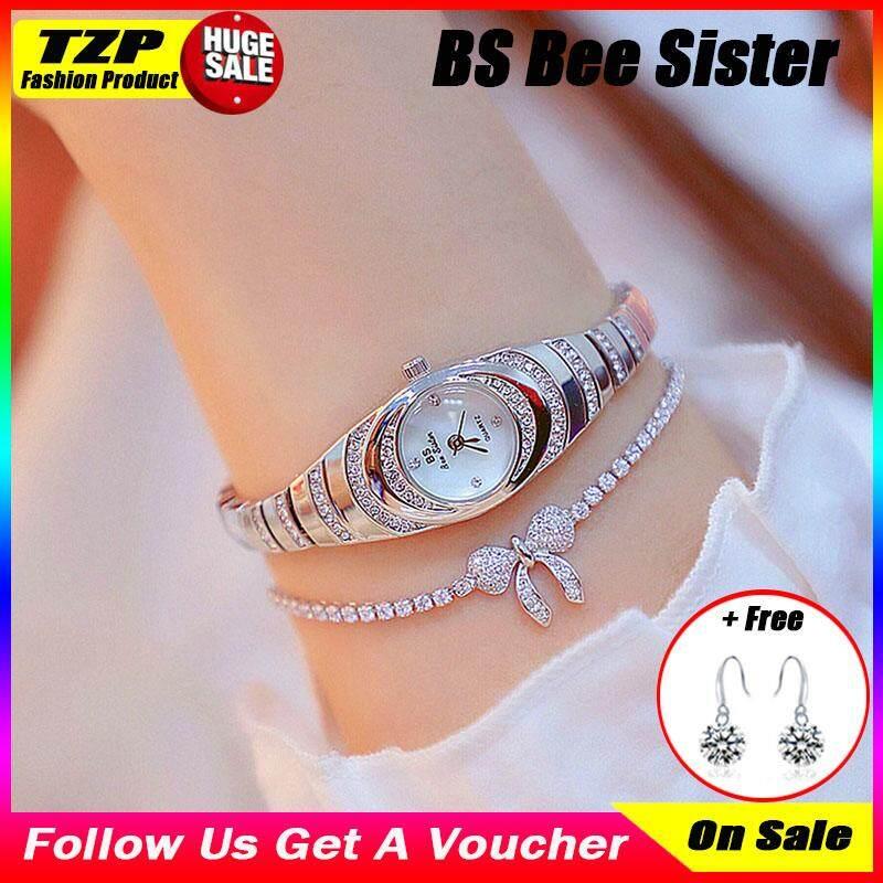 [Dengan 1 Anting-anting Pasangan] Guest House Bee Sister Hot-Selling Baru Jam Tangan Mewah Wanita High-End Kustom Rantai Kecil Jam Tangan Wanita baru Jam Tangan Korea Fashion Wanita Jam Tangan