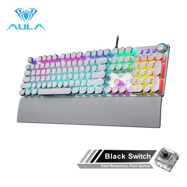 AULA F2088/F2058 Mechanical Gaming Keyboard Detachable wrist rest Multimedia Knob Marco Programming metal panel LED Backlit keyboard for PC Gamer (Punk keycap) Singapore