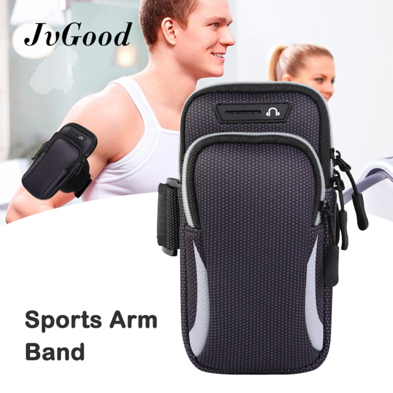 JvGood Sports Arm Band Phone Arm Bands Arm Bag Cell Phone Holder Case Arm Band Strap With Zipper Pouch Mobile Exercise Running Workout for Android and Apple Phone