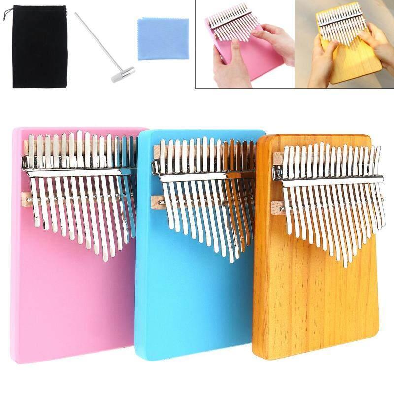 17 Key Thumb Piano Kalimba Single Board Pine Mini Keyboard Instrument Pink Blue Wood Optional Malaysia