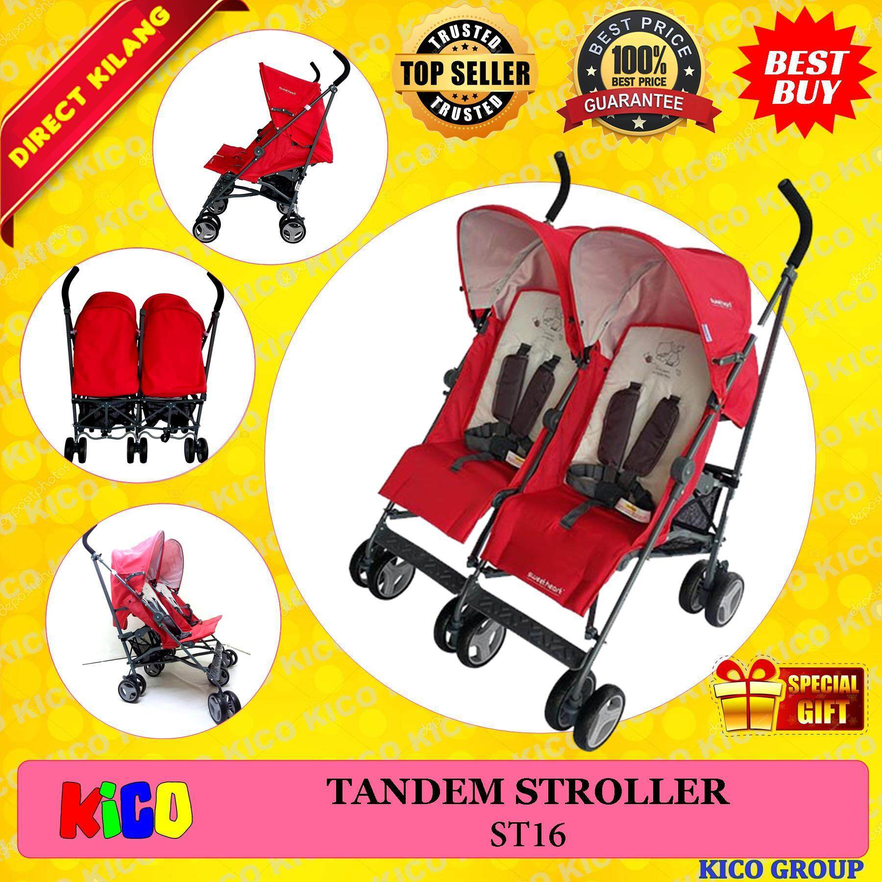⚡ Labour Day Sale ⚡《direct Kilang》sweet Heart Paris St16 Twin Stroller (red) With Compact Fold By Kico Baby Center.