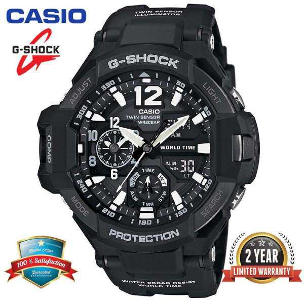 Original G Shock GA1100 Men Sport Watch Dual Time Display 200M Water Resistant Shockproof and Waterproof World Time LED Auto Light Compass Thermometer Sports Wrist Watches with 2 Years Official Warranty GA-1100-1A (Ready Stock) Malaysia