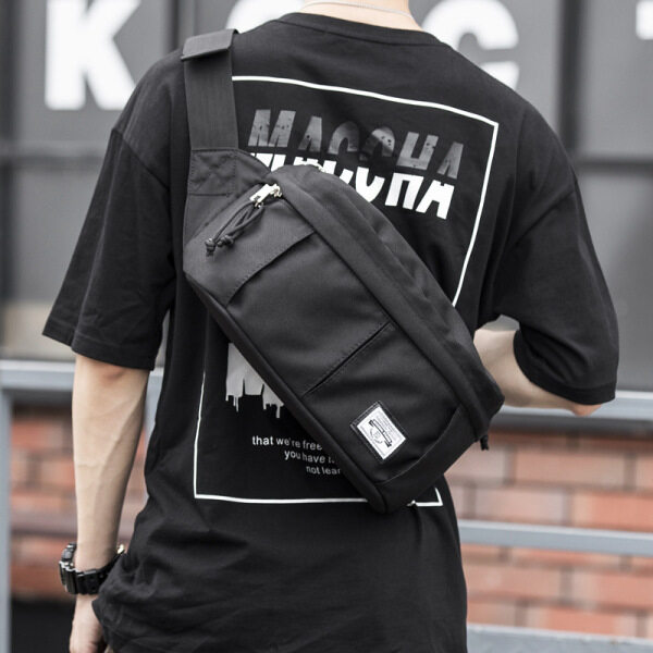 import big size chest bag cross body bag for men male teenager student Korean style sport street simple designer new on sale outdoor casual fashion Oxford Fabric cloth large capacity black