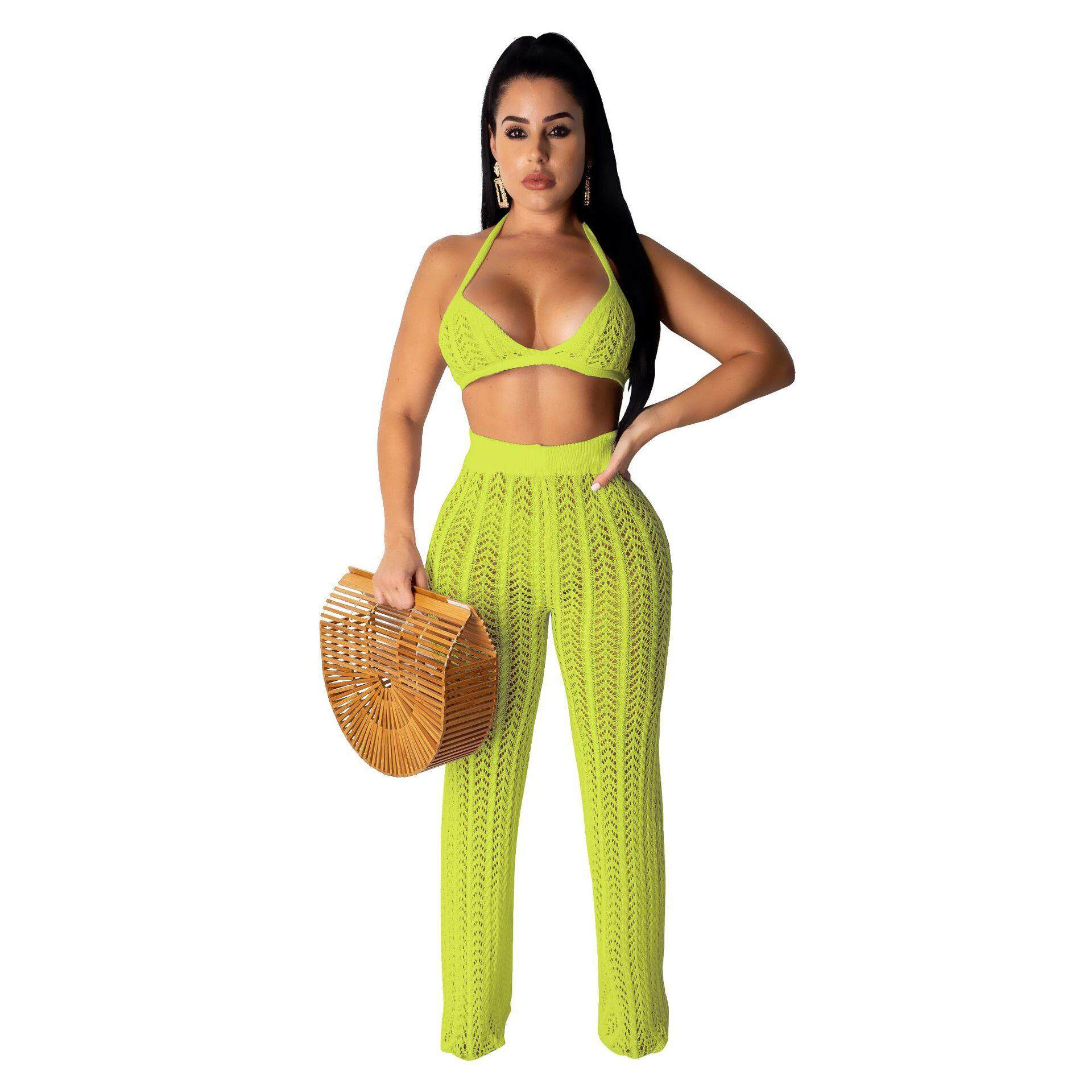 0bc4bb2f000701 Womens Sexy Two Piece Outfits Mesh See Through Bra Crop Top Halter Wide Leg  Jumpsuit