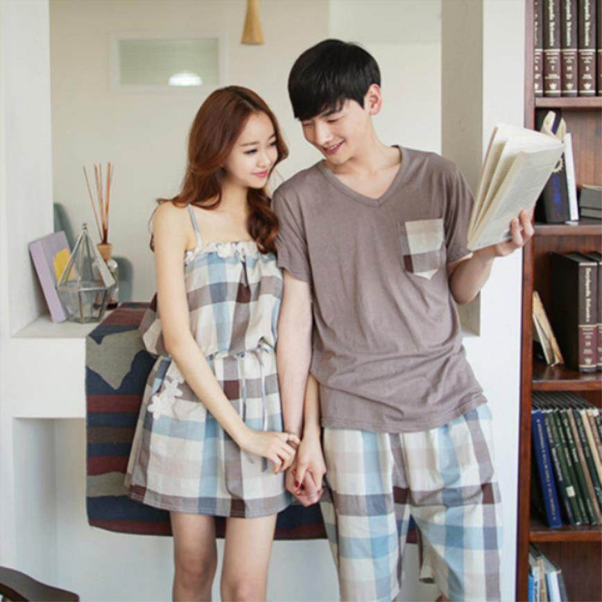 Japanese Two piece Summer Cotton Couple s Pajamas Ladies Summer Short  Sleeve Sexy Nightdress Household Clothes Men s da709c346