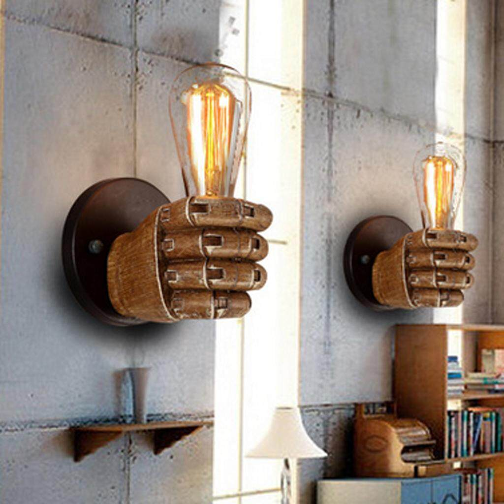 Perfk E27 Vintage Fist Resin Wall Lights Aisle/Balcony light Wall Lamp#Right Hand