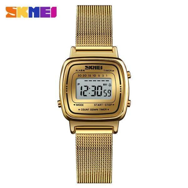 SKMEI New Women Fashion Watches Simple Stainless Steel Watch Ladies Digital Waterproof Wristwatches Female Clock 1252B Malaysia
