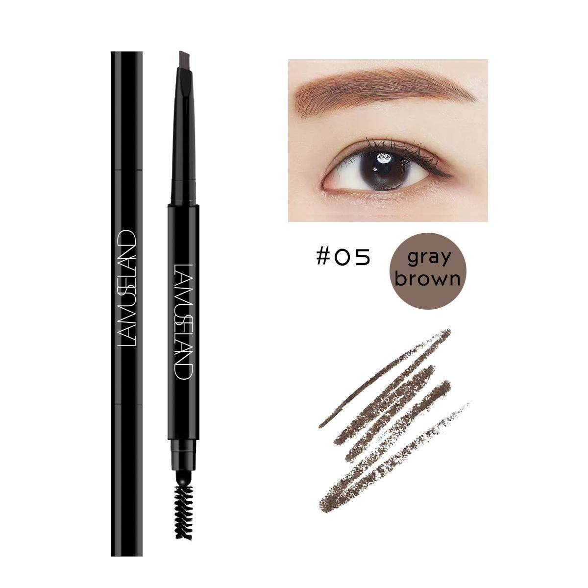 Lamuseland 5 Colors Long-Lasting Double-Headed Autorotation Eyebrow Pencil By Barbiecosmetic.
