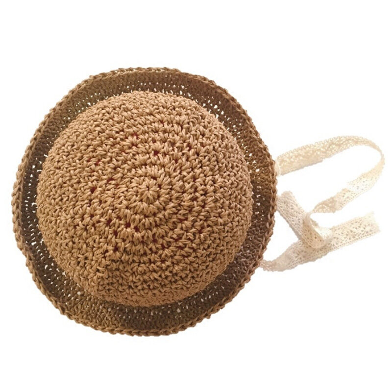Bảng giá Handmade Summer Baby Straw Hat Girls Lace Windproof Cord Beach Sun Hat Wide Brim Cute Floppy Hat Khaki