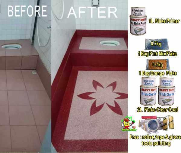 flake coating epoxy ( SPECIAL SET )1L PRIMER + 1 BAG PINK MIX FLAKE + 1 BAG ORANG MIX FLAKE + 2L CLEAR COAT + FREE TOOLS