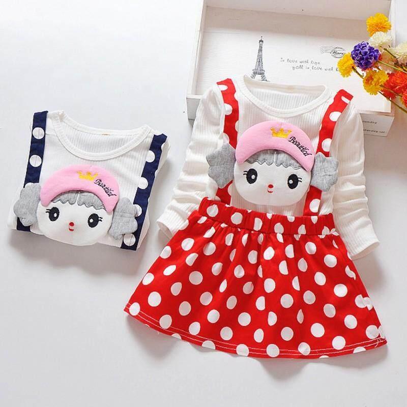 f3324531281ba Spring Baby Girl Princess Dress Toddler Cartoon Dot Pattern Long Sleeve  Cotton Dresses