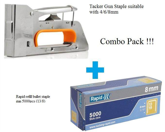 Tacker Staple Gun 4mm / 6mm / 8mm With Staple 8mm 13/8 5000pcs Staple Refill (combo Pack) By D.i.y Hardware Tools.