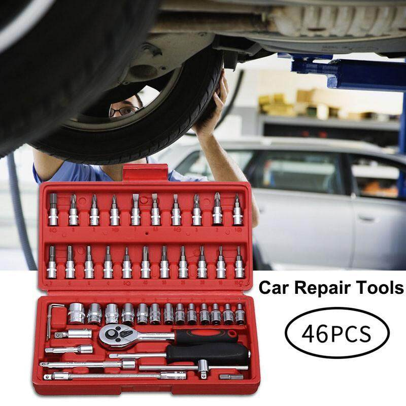 niceEshop 46 in 1 Car Repair Tools Kit, Heavy Duty Car Trim Removal Tool Combination Tool Set Carbon Steel Spanner Wrench Ratchet Screwdriver Set
