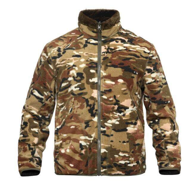 ฤดูหนาวผู้ชายกีฬาเดินป่ากลางแจ้งปีนเขาแจ็คเก็ตผ้าขนแกะความร้อนฤดูหนาวคู่ด้านที่ใส่หนาเสื้อคาร์ดิแกนขนแกะ Camouflage Liner By Blshop.
