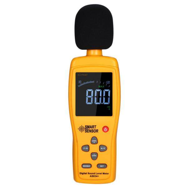 SMART SENSOR AS834+ Digital Sound Level Meter Digital Noisemeter LCD Sound Level Meter 30-130dB Noise Volume Measuring Instrument Decibel Monitoring Tester