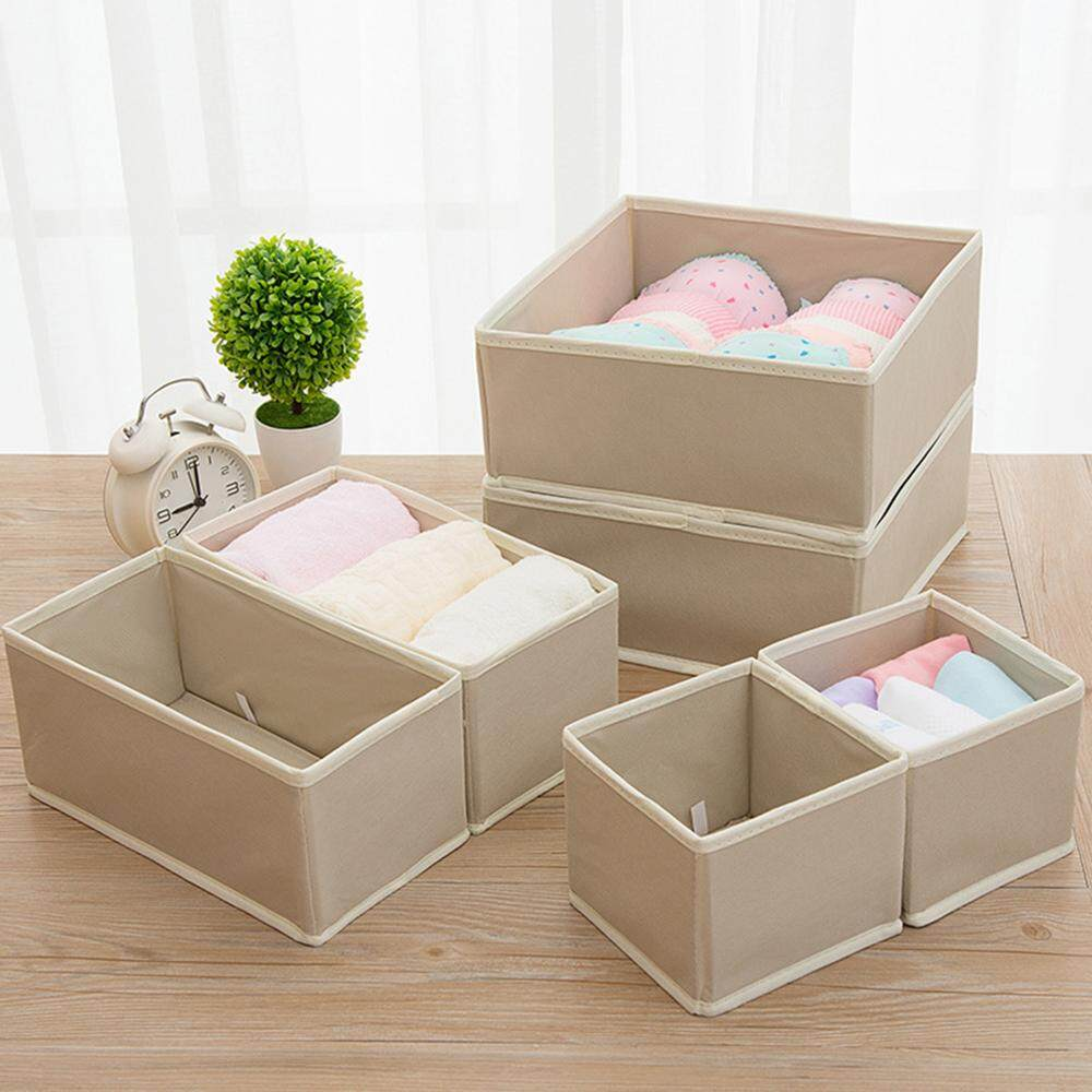 6Pcs Foldable Underwear Storage Box Set Drawer Divider Bras Socks Washable Folding Boxes Home Storage Organizer Khaki