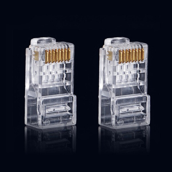 100Pcs/Lot RJ45 8P8C CAT6 Transparent Crystal Head Modular Plug Gold Plated Network Connector Clear Modul Plug