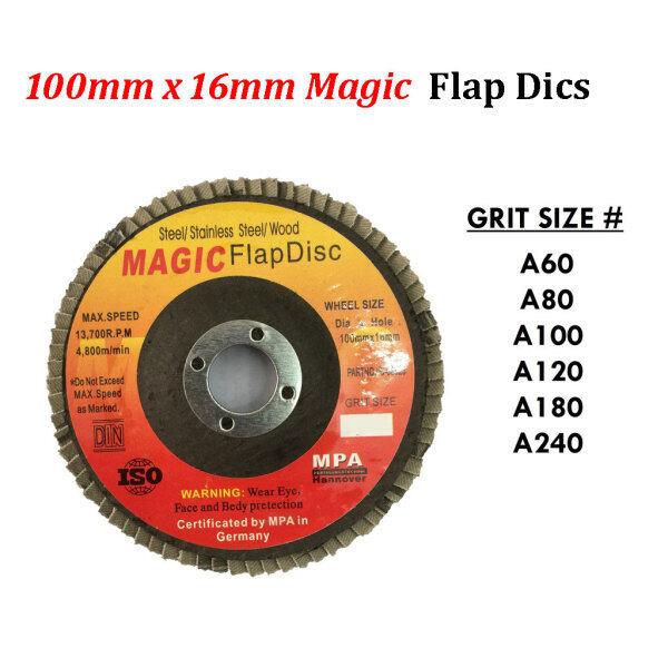 10 PIECE x 100MM MAGIC FLAP DISC ( 60#,80#,100#,120#,180#,240# )