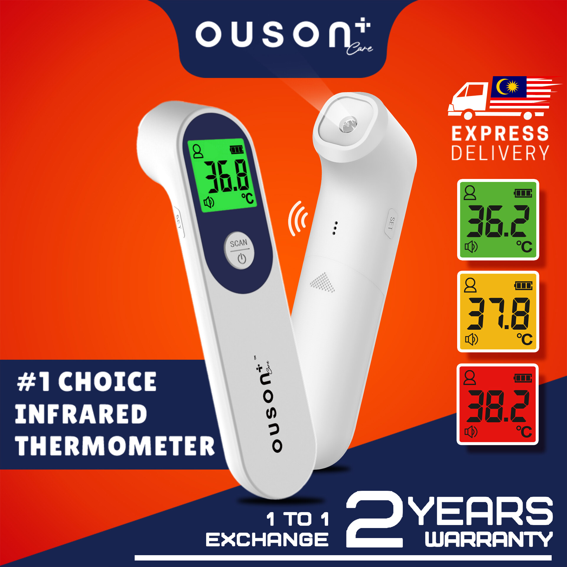 [#1 CHOICE] OUSON+ CARE CONTACTLESS INFRARED MULTIFUNCTION FOREHEAD THERMOMETER SCAN SCANNER FOR BABY AND ADULT