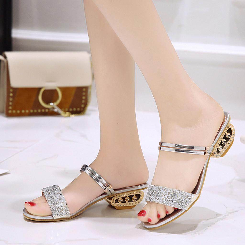 Women Rhinestone Casual Sandals Fish Mouth Sequins Wild Shoes High Heel Slippers