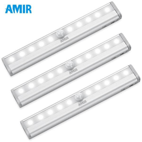 AMIR LED Light 3PCS Motion Sensor Lights DIY Night Lamp Easily Stick On Anywhere Night Light Cordless Stairs Step Closet Light Bar