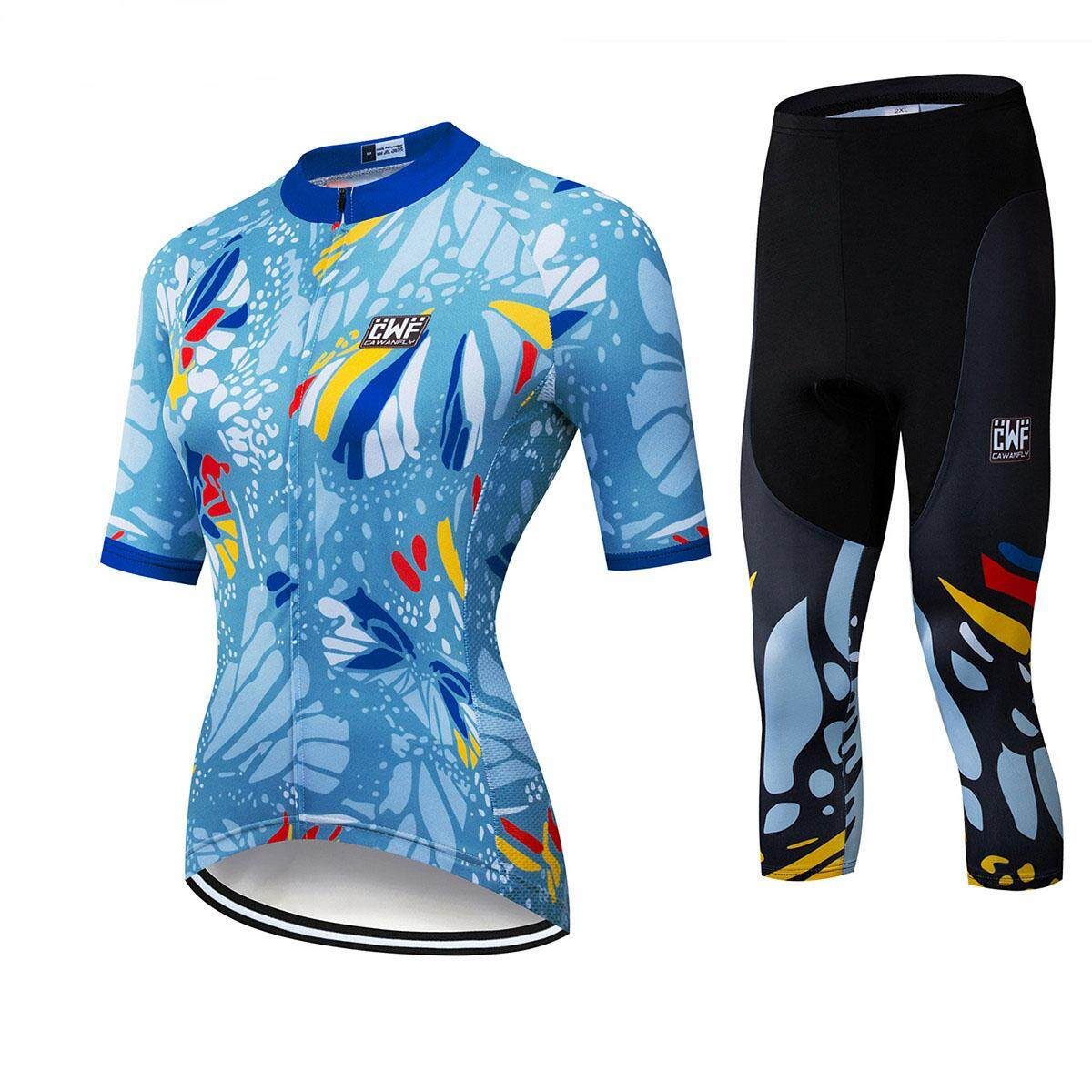 Women Cycling Jerseys Mtb Bicycle Clothes Set 3/4pants (multicolor) Ss15 By Tristaxu.
