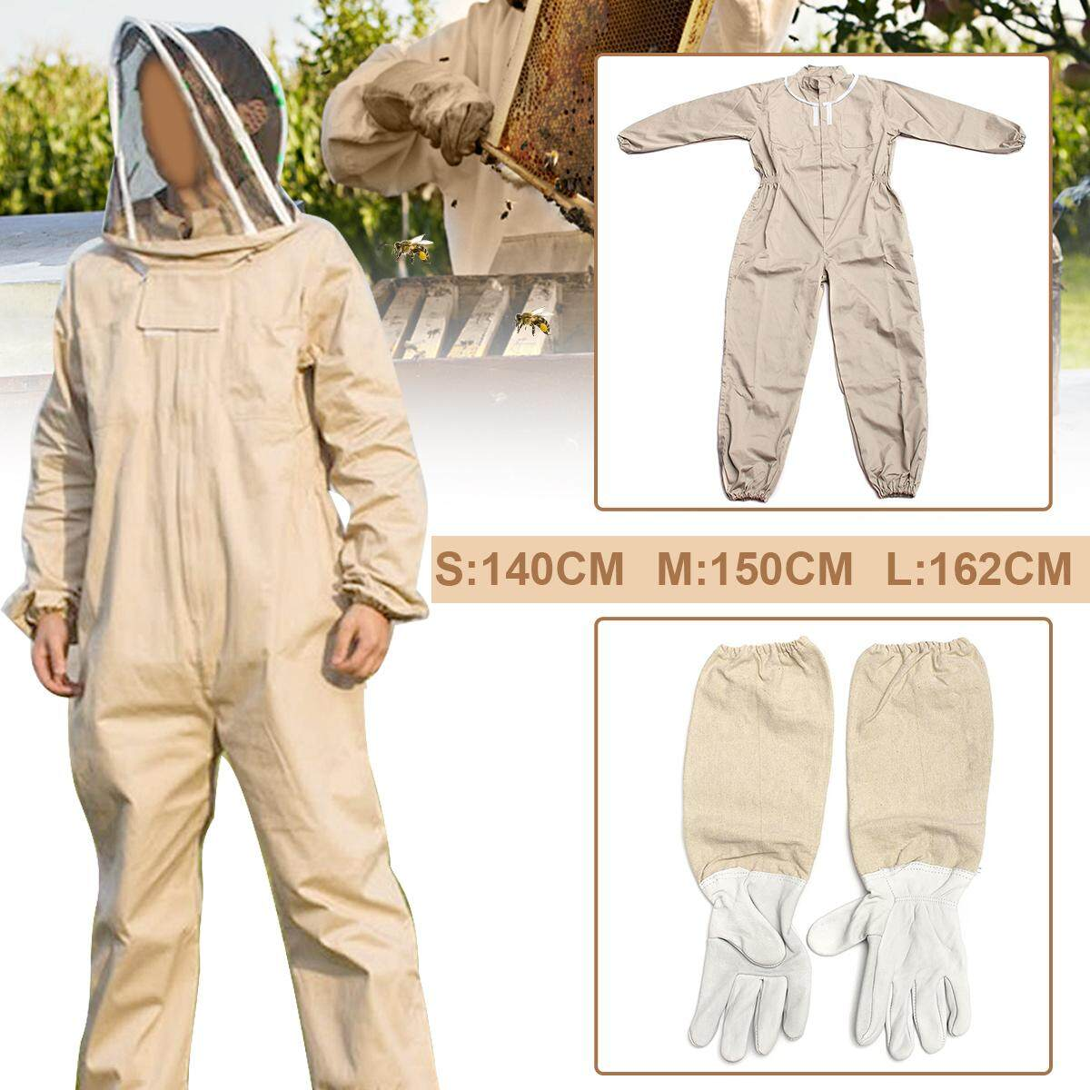 【Free Shipping + Flash Deal 】Full Beekeeping Suit Bee Suit Heavy Duty & Leather Ventilated Keeping Gloves NEW