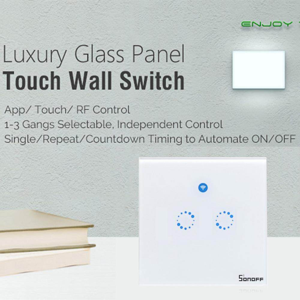 Queo Sonoff T1 2 button Smart Wall Touch Light Switch Remote control lights Voice Control Timing Functions Fire Retardant ABS shell