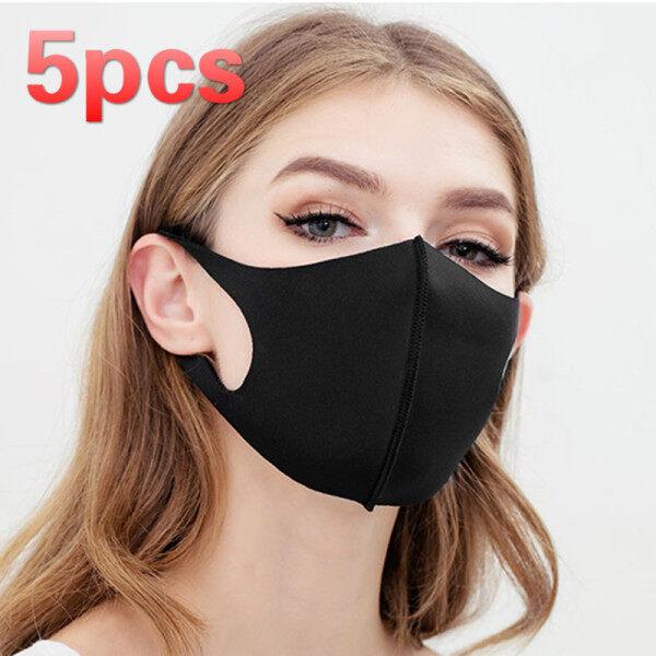 JosheLife 5pcs Black Breathe Face Cover Classic Stylish Simple Design Economic Washable Reusable Dustproof ready stock